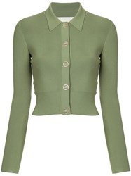 Dion Lee Cropped Fitted Cardigan Green