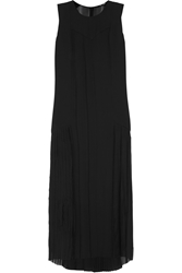 Blk Dnm Pleated Silk Chiffon Maxi Dress