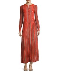 Valentino Long Sleeve Embroidered Chiffon Gown Orange