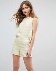 Traffic People Striped Playsuit Yellow