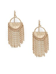 Catherine Malandrino Chain Linked Tassel Drop Earrings Gold