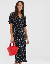 Influence Shirred Sleeve Floral Midi Dress With Button Down Front In Black