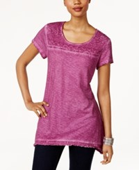 Style And Co Fringe Hem Lace Yoke Top Only At Macy's Orchid Oasis