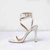 River Island Womens White Caged Strappy Sandals