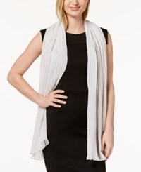 Betsey Johnson Solid Georgette Pleated Evening Wrap Silver