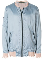 Di Liborio Lightweight Distressed Bomber Jacket Blue