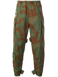 Off White Camouflage Cargo Trousers Green