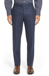 Men's Big And Tall Nordstrom Flat Front Herringbone Wool Trousers Navy