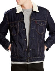 Levi's Sherpa Collar Denim Jacket Juniper Rinse Sherpa Trucker