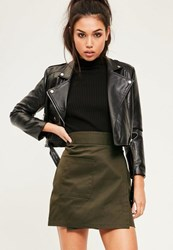 Missguided Khaki Cotton Wrap Over Pocket Front Skirt