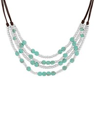 Lucky Brand Key Items Semi Precious Reconstituted Calcite And Rock Crystal Silvertone Turquoise Beaded Collar Necklace