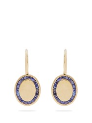 Jessica Biales Candy Sapphire And Yellow Gold Earrings Blue