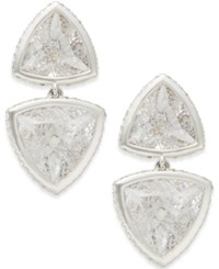 Eliot Danori Rhodium Plated Crystal Double Drop Earrings Clear