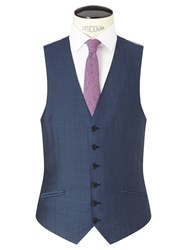 Richard James Mayfair Wool Mohair Slim Fit Waistcoat Blue Steel