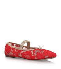 Valentino Rockstud And Lace Ballet Flats Female Red