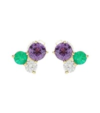 Jemma Wynne 18Kt Yellow Gold Earrings With Diamond Sapphire And Emerald Multicoloured
