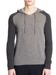 Emporio Armani Colorblock Hooded Cashmere Sweater Grey Melange