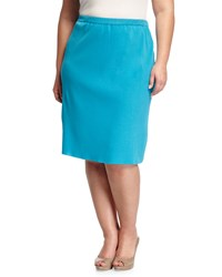 Ming Wang Plus High Waist Knit Pencil Skirt Peacock