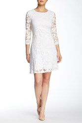 Marina 3 4 Length Sleeve Floral Lace Dress White
