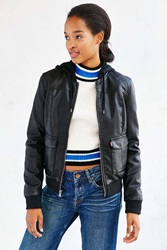 Levi's Leather Hooded Jacket Black