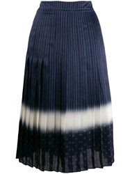 Tory Burch Printed Pleated Skirt Blue