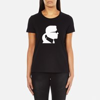 Karl Lagerfeld Women's Ikonic Head Crew Neck T Shirt Black