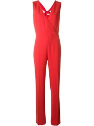 Tory Burch Twist Detail Jumpsuit Red