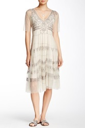 Biya Beaded Lace And Silk Dress Beige