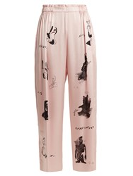 Claire Barrow Dog Print Wide Leg Silk Satin Trousers Light Pink