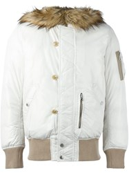 Diesel Furred Collar Padded Jacket White