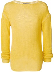 Ermanno Scervino Crew Neck Jumper Cashmere Yellow Orange