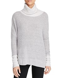 Three Dots Turtleneck Contrast Sweater Granite Combo