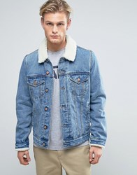 Asos Denim Jacket With Borg Collar In Mid Wash Blue