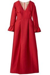 Merchant Archive Pleated Taffeta Gown Red