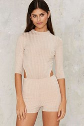 Missing In Action Ribbed Romper Beige