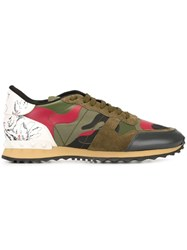 Valentino Camouflage And Floral Sneakers Green