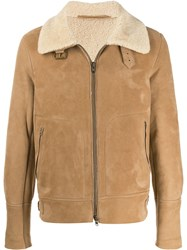 Salvatore Santoro Shearling Trimmed Aviator Coat 60