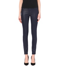 Ted Baker Wax Finish Skinny Mid Rise Jeans Navy