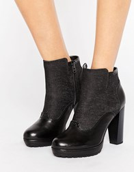G Star Guardian Heeled Ankle Boots Black Textile Leathe
