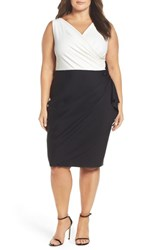 Alex Evenings Plus Size Women's Embellished Side Ruched Colorblock Sheath Dress Black White