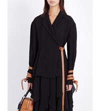 Loewe Leather Detail Crepe Wrap Jacket Black
