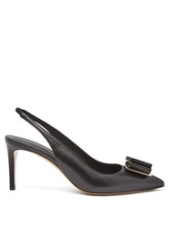 Salvatore Ferragamo Zahir Bow Point Toe Leather Slingback Sandals Black