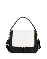 Neiman Marcus Hip Colorblock Zip Hobo Bag Black Milk