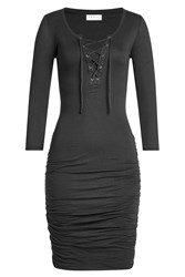 Velvet Cotton Dress With Lace Up Front