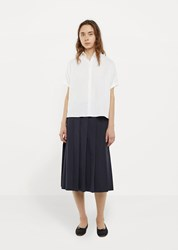 La Garconne Moderne Pleated Wrap Skirt Navy