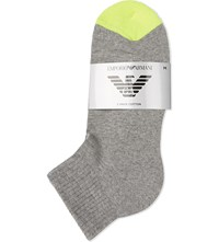 Emporio Armani Eagle Cotton Socks Pack Of Two Melnge Pale Grey
