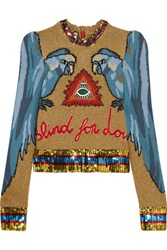 Gucci Appliqued Sequin Embellished Intarsia Knitted Sweater Sky Blue