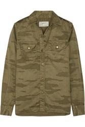Current Elliott The Perfect Camouflage Print Cotton Twill Shirt Army Green