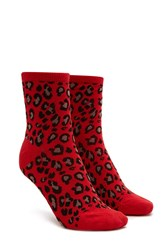 Forever 21 Leopard Print Crew Socks Red Multi