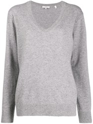 Vince Cashmere V Neck Jumper Grey